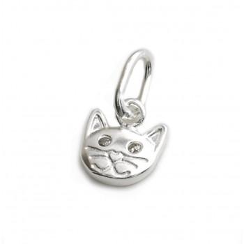 Dije de plata mini gatito con cubic 8mm