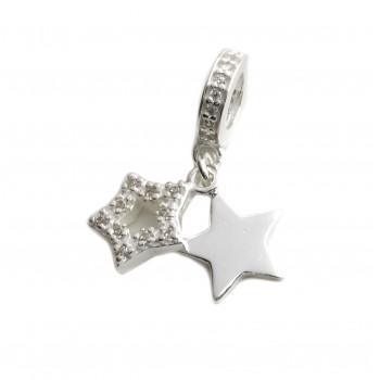 Dije de plata pasante con doble estrella micropave 8mm