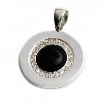Dije de plata círculo centro negro con borde pavé 47mm