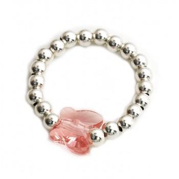 Anillo de plata bolitas dije cristal mariposa rosa coral