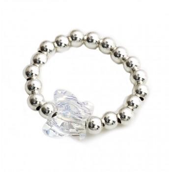 Anillo de plata bolitas dije cristal mariposa boreal