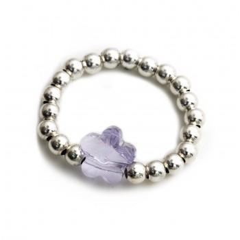 Anillo de plata bolitas dije cristal flor lila