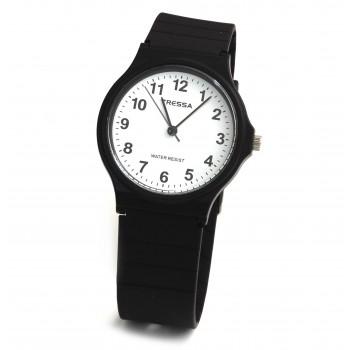 Reloj tressa caucho negro centro blanco 33mm