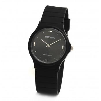 Reloj tressa caucho negro centro negro puntos 33mm