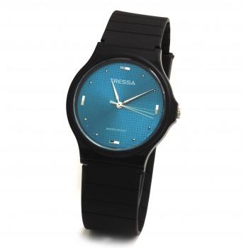 Reloj tressa caucho negro centro verde esmeralda 33mm