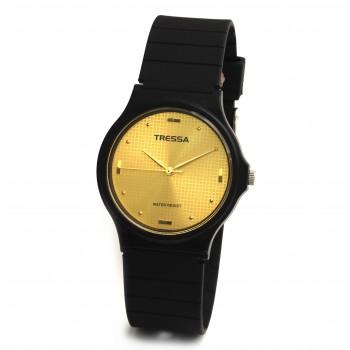 Reloj tressa caucho negro centro dorado 33mm