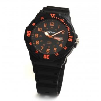 Reloj tressa caucho fondo negro y naranja 40mm