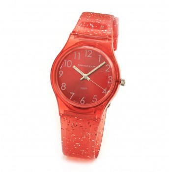 Reloj malla glitter rojo centro rojo 29mm
