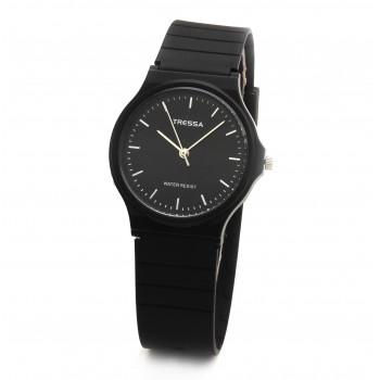 Reloj tressa caucho negro centro negro 33mm