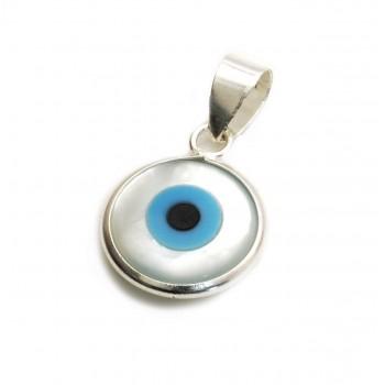 3d9a59556837 Dije de plata ojo turco con fondo nácar 14mm Dije de plata ojo turco con  fondo...