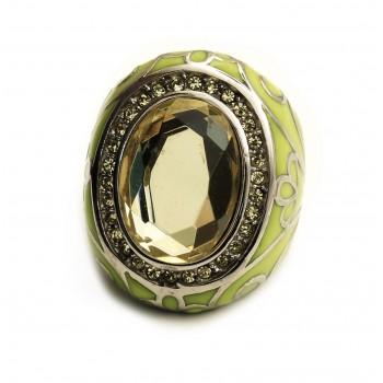 ANILLO oval esmalte verde c/piedra verde