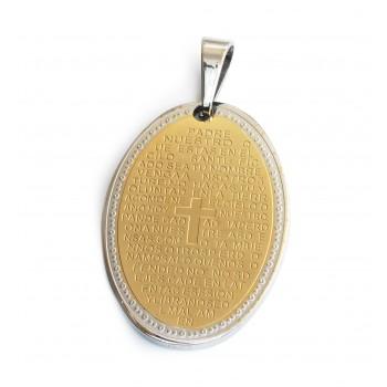 Dije de Acero oval con padrenuestro dorado 42mm