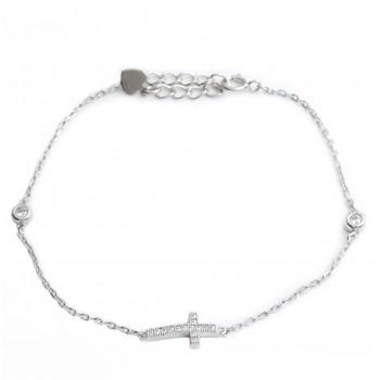Pulsera de plata rodinada cruz y doble susano 16cm