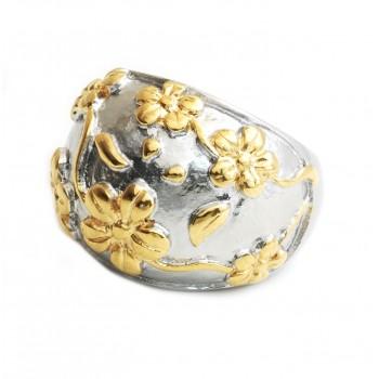 ANILLO cabullon c/flores dorados