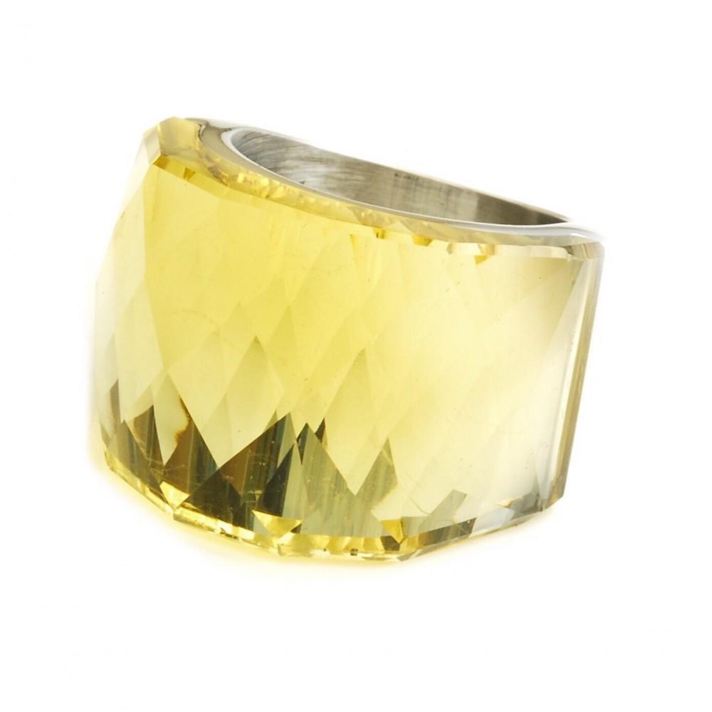 Anillo de Acero cristal facetado verde limón