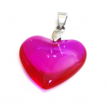 Dije de acero corazon cristal fucsia 23mm