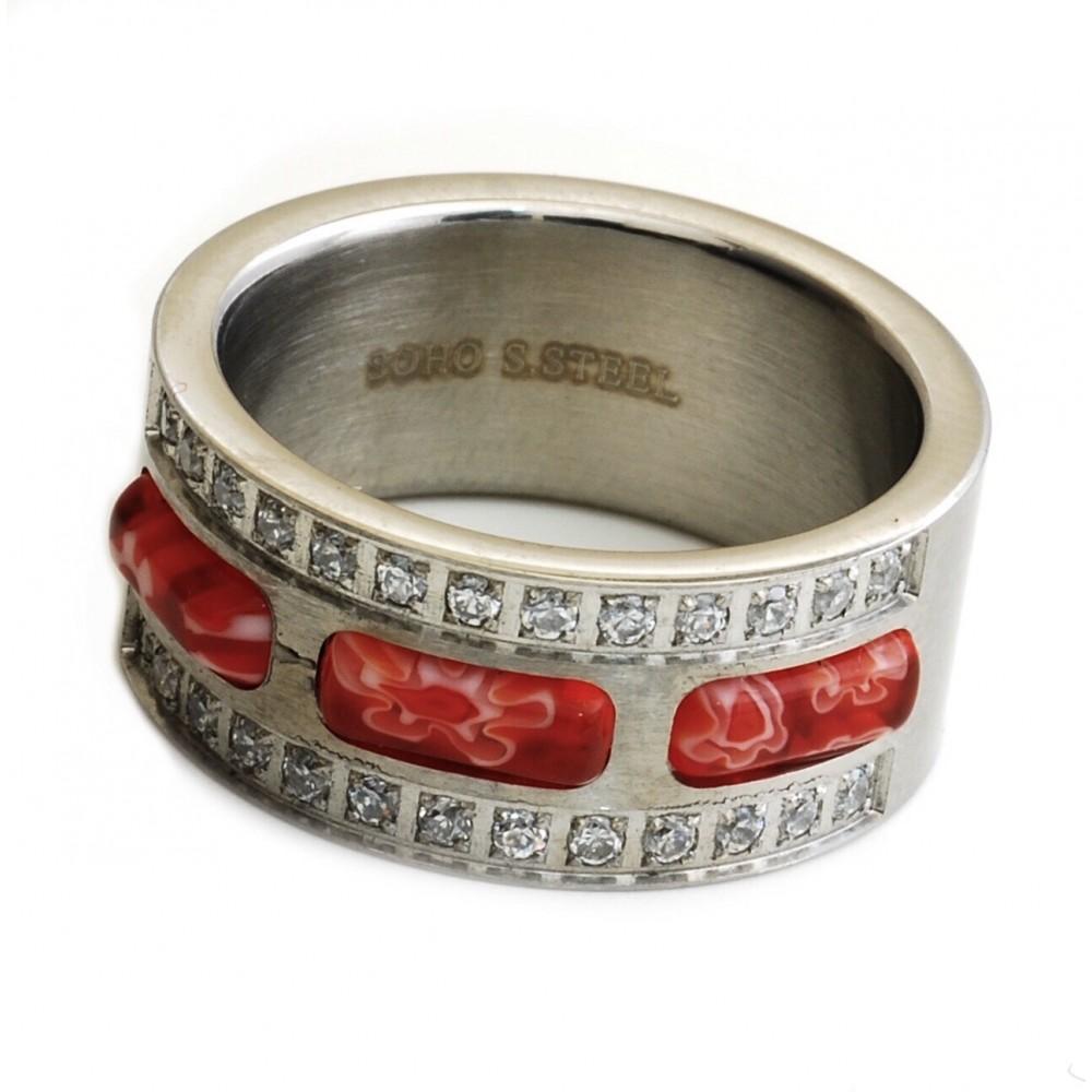 ANILLO cinta murano rojo y 2 lineas de cubic