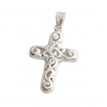 Dije de plata cruz calada con arabescos 31mm