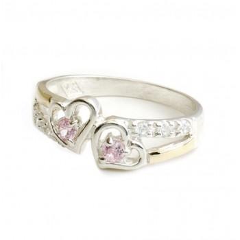 Anillo de plata con duble doble corazon cubic rosa