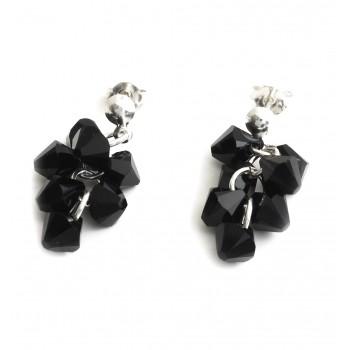 Aros de plata colgante cristal ramillete negro