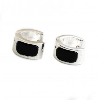 Aros de acero plateado argolla con esmalte negro 15mm