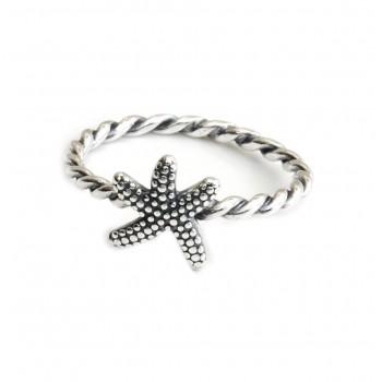 Anillo de plata ondulado con estrella de mar