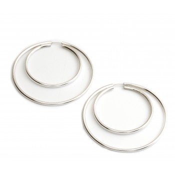Aros de plata cubano doble 46mm
