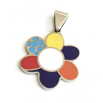 Dije de Acero flor esmaltada puntos azules 32mm