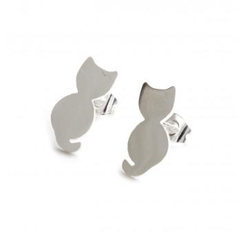 Aros de acero plateado gato liso 15mm