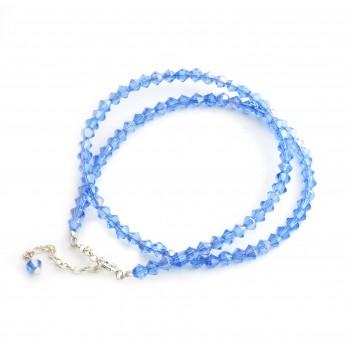 Collar de plata cristal azul lavanda 4mm 40cm