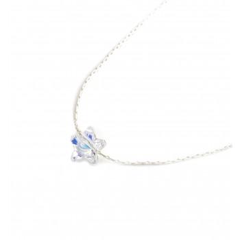 Collar de plata dije estrella cristal boreal 10mm 40cm