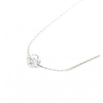 Collar de plata dije bola cristal boreal 10mm 40cm