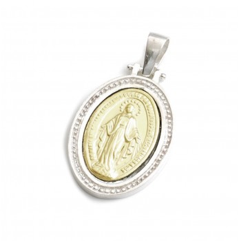 Dije de plata con duble virgen milagrosa borde labrado 30mm