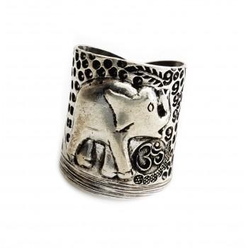 Anillo de plata hindu 1 elefeante signo OM