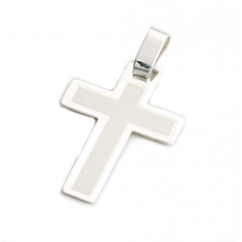 Dije de plata cruz centro blanco 22mm