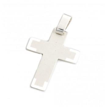 Dije de plata cruz blanca con bordes 22mm
