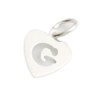 Dije de plata corazón inicial G 9mm