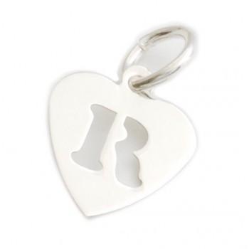Dije de plata corazón inicial R 9mm