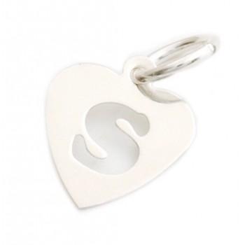 Dije de plata corazón inicial S 9mm