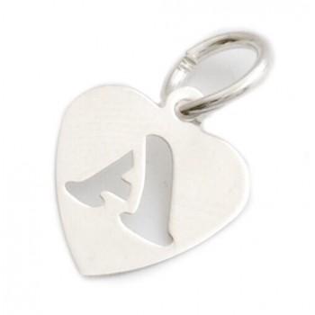 Dije de plata corazón inicial A 9mm