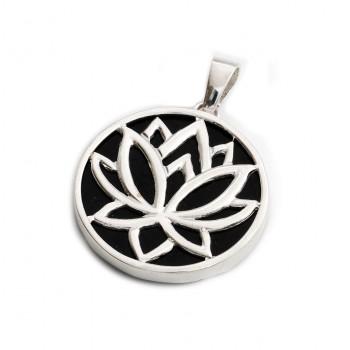 Dije de plata flor de loto fondo simil onix 28mm