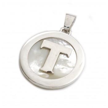 Dije de plata inicial T con nácar 36mm