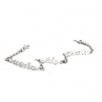 Pulsera de plata sueña rie ama 17cm