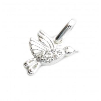 Dije de plata colibri con micropavé 10mm