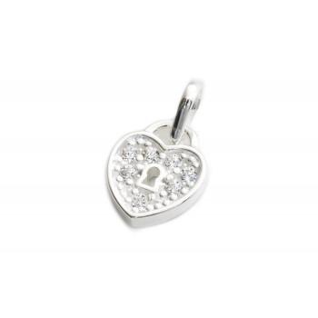 Dije de plata mini corazon candado 10mm