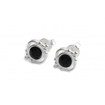 Aros de plata cristal negro borde bolitas 10mm
