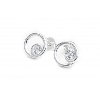 Aros de plata círculo calado con cubic 10mm