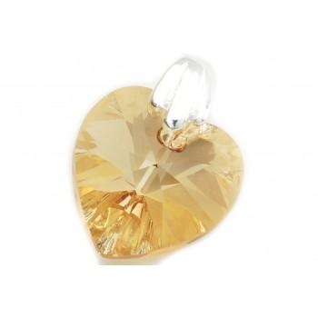 Dije de plata corazón cristal ambar claro 14mm