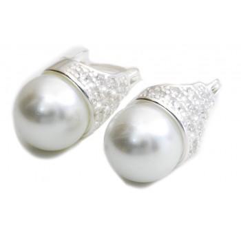Aros de plata lady di perla con micropavé 18mm