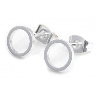 Aros de acero plateado círculo calado liso 7mm